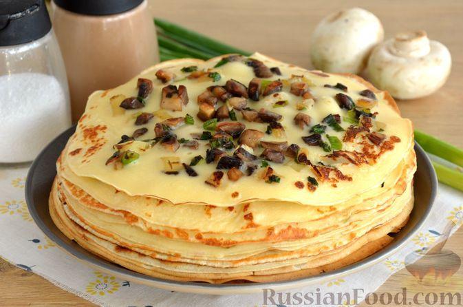 Фото к рецепту: Блинчики на молоке, со сладким перцем и грибами