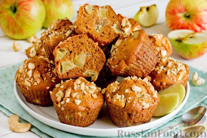 Фото к рецепту: Медовые кексы с яблоками и орехами