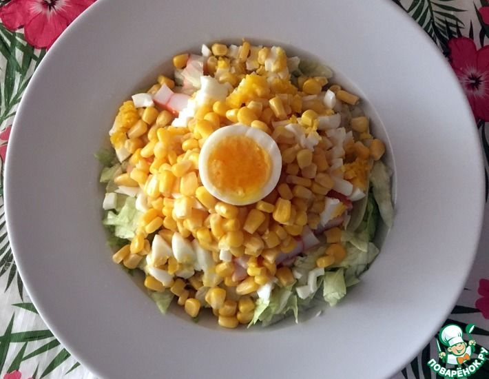 Рецепт: Салат из крабовых палочек с маслом