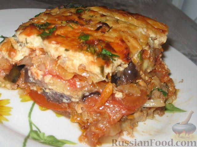 Фото к рецепту: Баклажанная запеканка с капустой и перцем