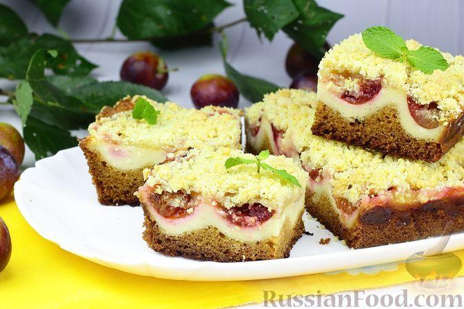 Фото к рецепту: Пирог со сливами, творогом и штрейзелем
