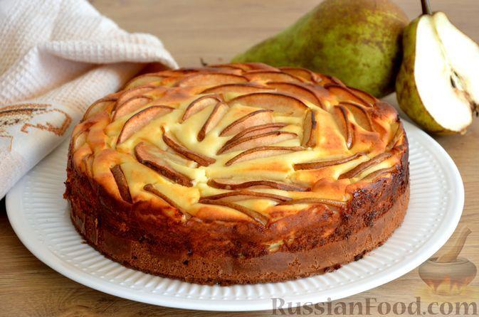 Фото к рецепту: Пирог с грушами и творогом, на сметане