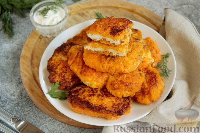 Фото к рецепту: Куриные отбивные, жаренные в морковном кляре