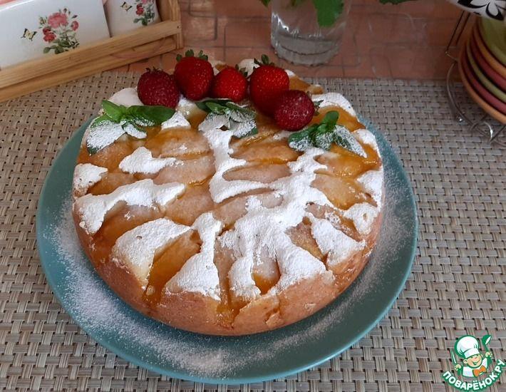 Рецепт: Творожный пирог с персиками в мультиварке