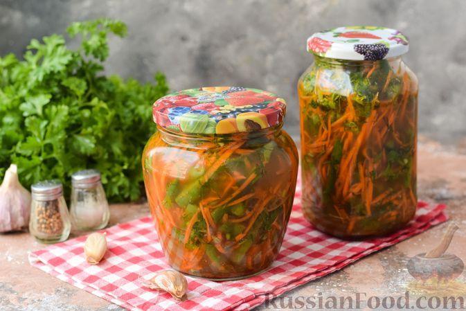 Фото к рецепту: Стручковая фасоль с морковью, по-корейски (на зиму)