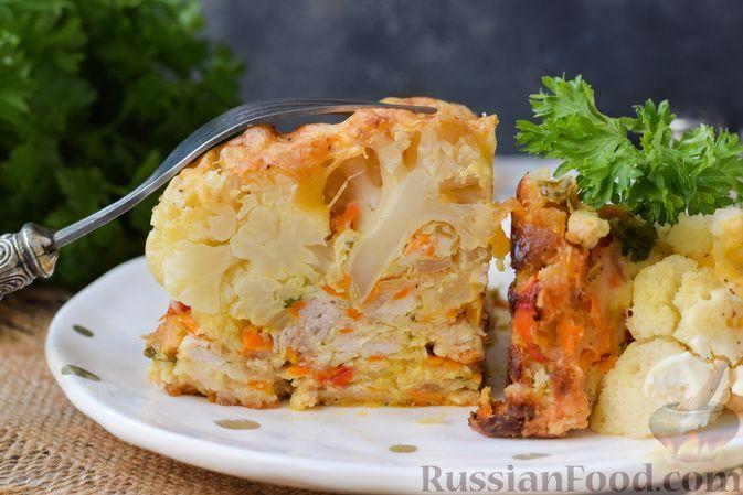 Фото к рецепту: Запеканка с мясным фаршем, цветной капустой и сладким перцем