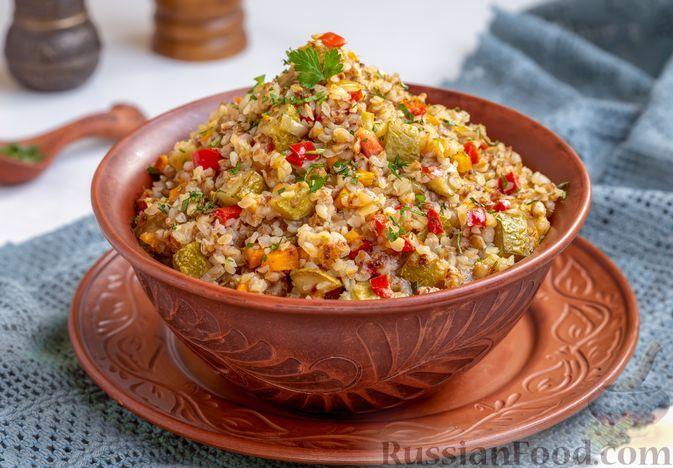 Фото к рецепту: Гречка с овощами (в духовке)