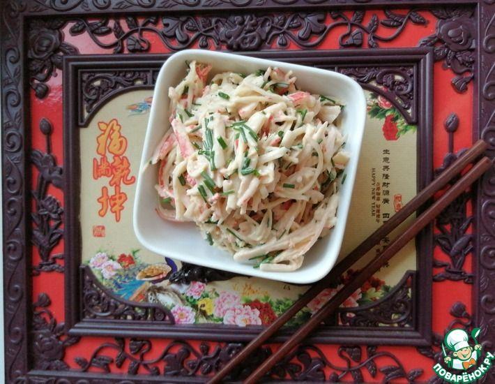 Рецепт: Салат из эноки и крабовых палочек