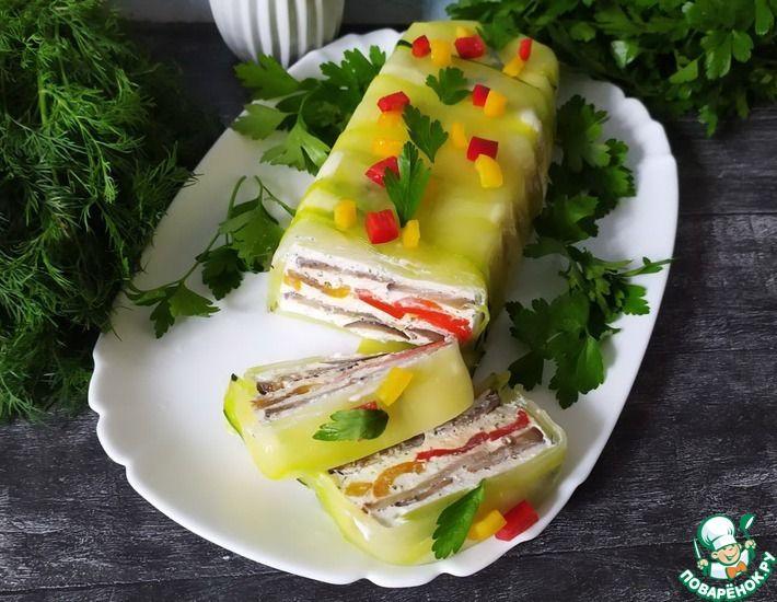 Рецепт: Торт из баклажанов, цукини и перца