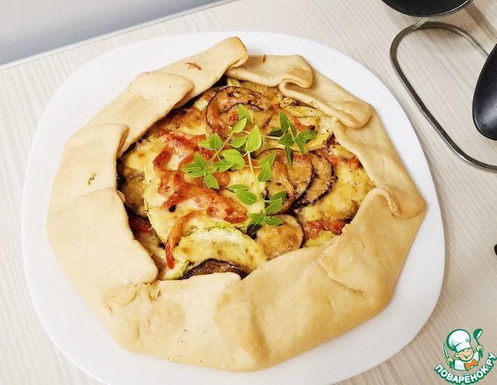 Рецепт: Открытый овощной пирог из тонкого теста