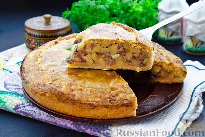 Фото к рецепту: Закрытый пирог с мясом и картошкой (из рубленого теста на сметане)