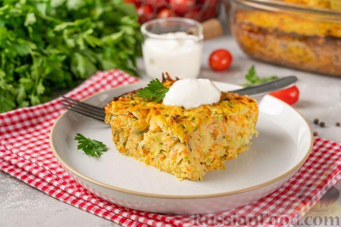 Фото к рецепту: Картофельная запеканка с кабачками и морковью
