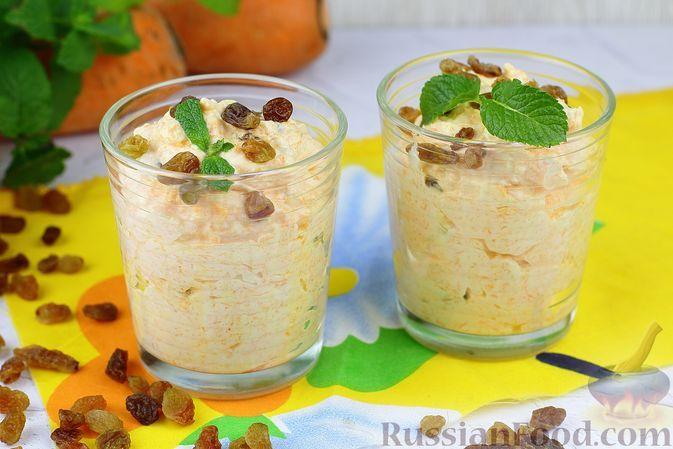 Фото к рецепту: Сливочный десерт с морковью и изюмом