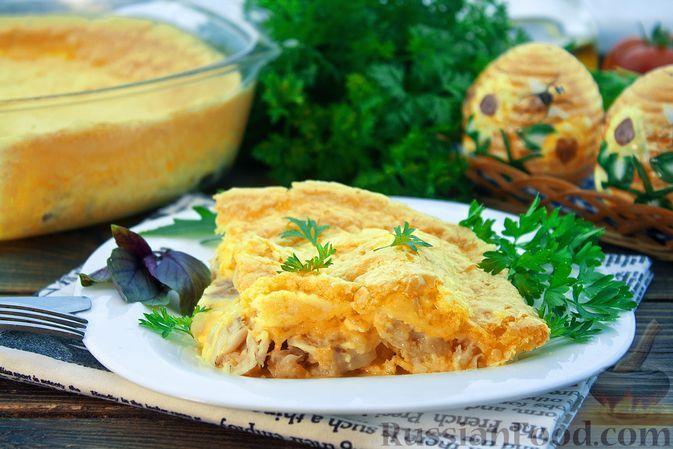 Фото к рецепту: Рыба, запечённая под сырным суфле