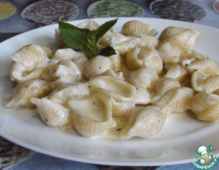 Рецепт: Макароны на сковороде в сливочном соусе