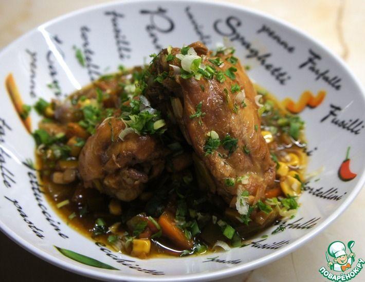 Рецепт: Курица с овощами в кисло-сладком соусе