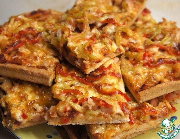 Рецепт: Домашняя пицца на тонком тесте