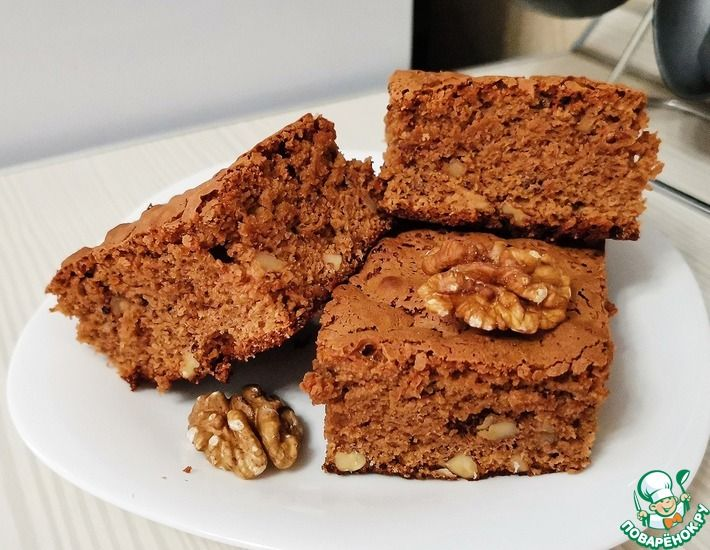 Рецепт: Кофейный брауни с грецкими орехами