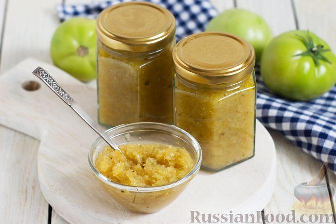 Фото к рецепту: Соус из зелёных помидоров со сладким перцем и чесноком (на зиму)