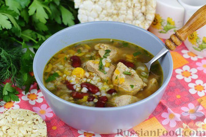 Фото к рецепту: Гречневый суп со свининой и консервированной фасолью