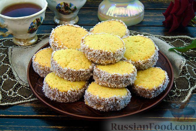 """Фото к рецепту: Песочное печенье """"Альфахорес"""" на кукурузном крахмале, с варёной сгущёнкой"""