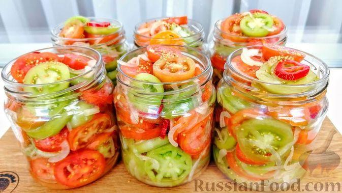Фото к рецепту: Зелёные помидоры на зиму