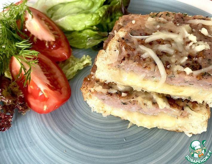 Рецепт: Горячий бутерброд с сыром и фаршем
