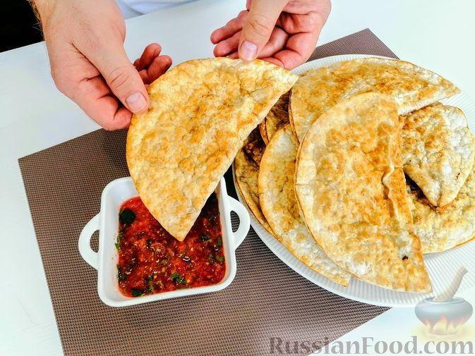 Фото к рецепту: Ленивые чебуреки из лаваша