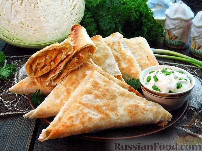 Фото к рецепту: Пирожки из лаваша с капустой (на сковороде)