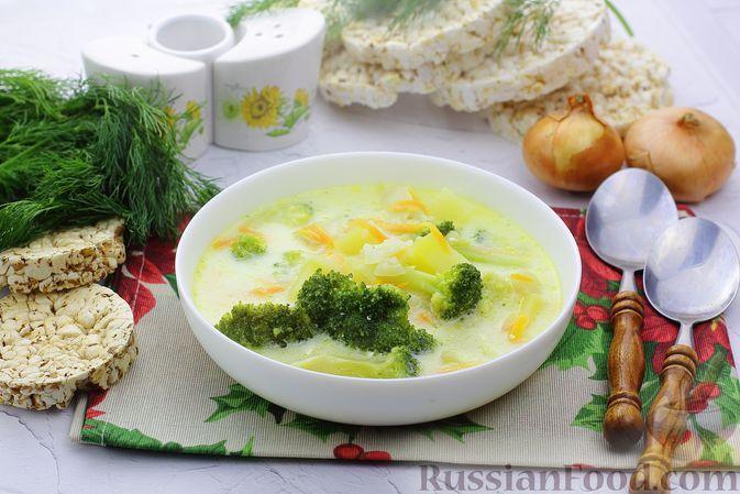Фото к рецепту: Суп с брокколи, рисом и плавленым сыром
