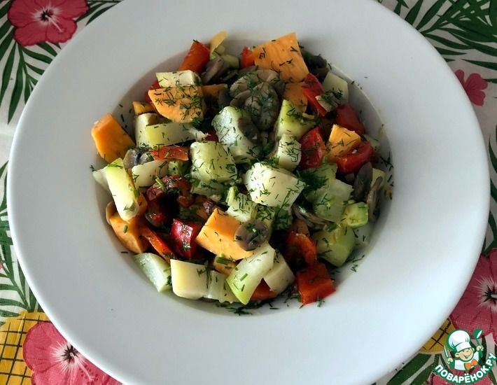 Рецепт: Салат из запеченного чайота