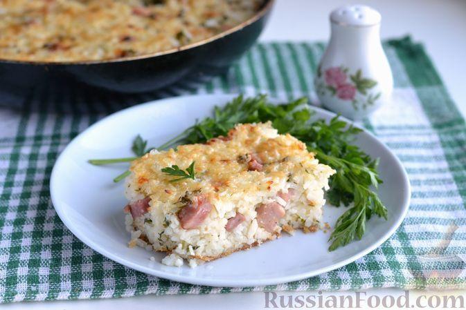 Фото к рецепту: Рисовая запеканка с ветчиной, сыром и зеленью