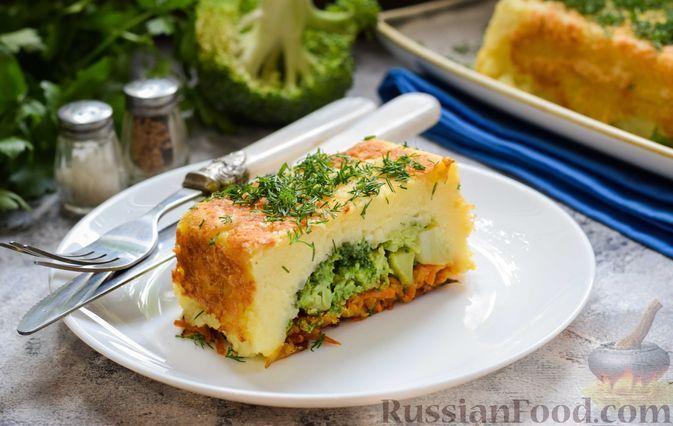 Фото к рецепту: Картофельная запеканка с брокколи и морковью