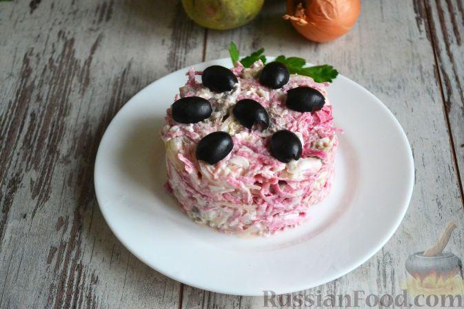 Фото к рецепту: Салат из редьки, с мясом