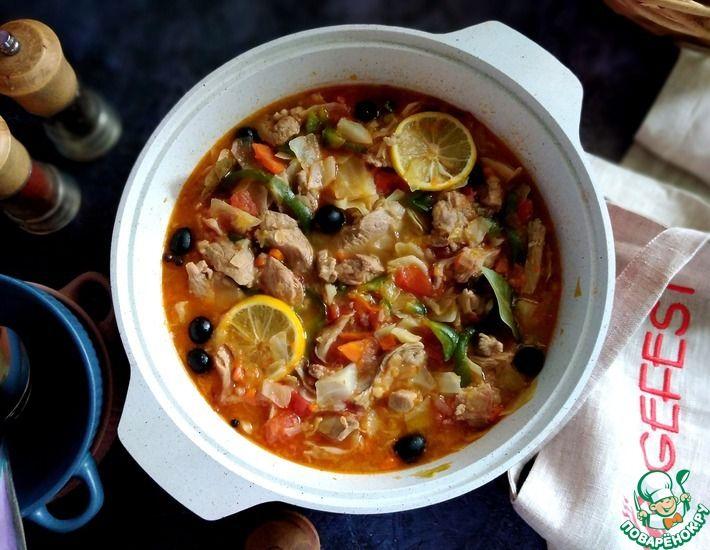 Рецепт: Мясная солянка, припущенная с овощами