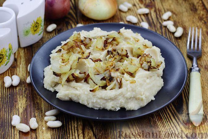 Фото к рецепту: Фасолевое пюре с жареным луком и чесноком