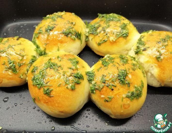 Рецепт: Булочки с чесноком и зеленью