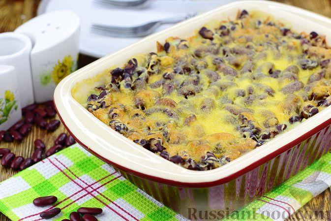 Фото к рецепту: Картофельная запеканка с курицей, фасолью и сыром