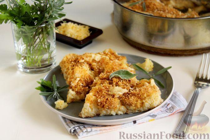 Фото к рецепту: Гратен из цветной капусты с соусом бешамель и сыром