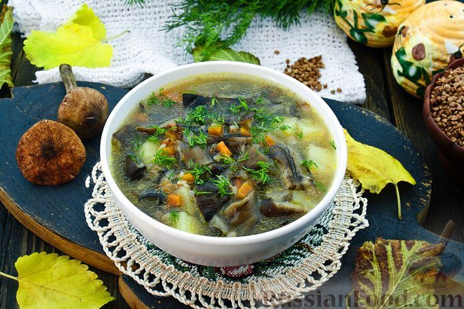 Фото к рецепту: Гречневый суп с опятами