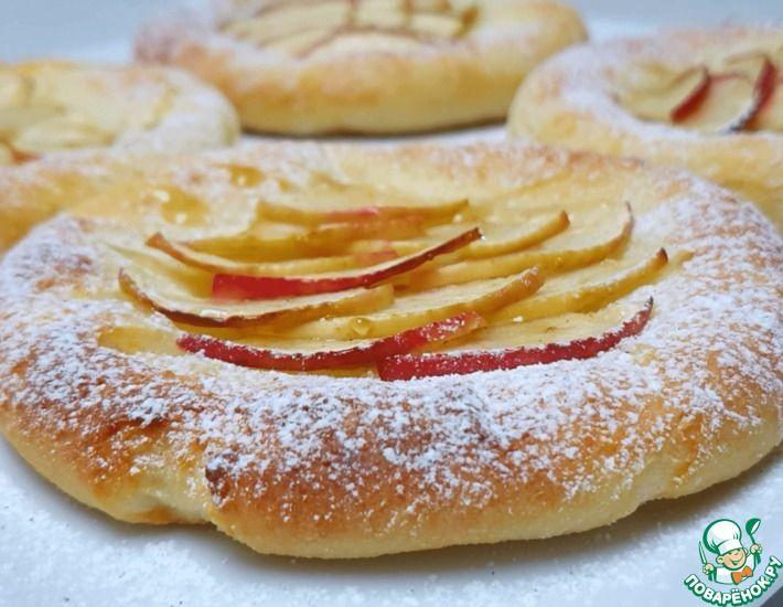 Рецепт: Творожные ватрушки с яблоками